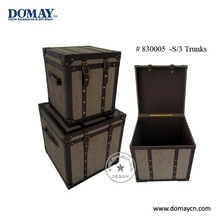 S/3 large decorative faux leather storage trunk organier, wooden trunk