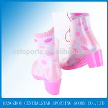 Pink transparent ladies' summer high heel rain boots