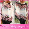 bon marché de gros transparent blouse en mousseline de soie à motif floral vêtements femme