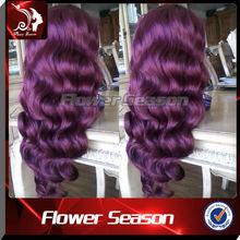 Middle Part Body Wave Wholesale Human Hair Purple Lace Front Wig
