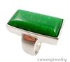 women's rectangle 316l stainless steel gemstone jade ring