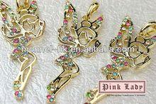 H392-1 Monnel 2015 Fashion Custom Alloy Rainbow Crystal Fairy Tinker Bell Metal DIY Charm Necklace Pendant