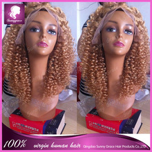 """Full density 150% kinky curly virgin hair lace front wig Beyonce Malaysian hair wig color #27 8-30"""" available"""