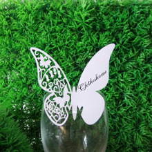 Cute Butterfly White Wedding Decorations Place Cards Laser Cut Escort Cards Vine Design Cup Cards Baby Shower Favors