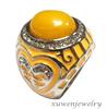 enamel big 316l stainless steel one single yellow jade rings