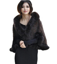 Short Women's 100% Genuine Mink Fur Cloak Coat with Fox Collar