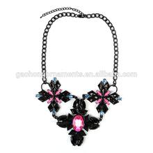Latest Popular Vintage Flower Crystal Bubble Bib Choker Statement Women Necklace