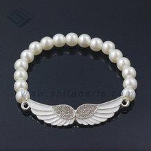 2014 New design custom beads bracelet,Angel Wings charm beads bracelet