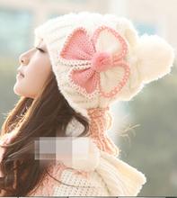 Women Knitted Flower Hat Bow Ear Cap Braided Hat