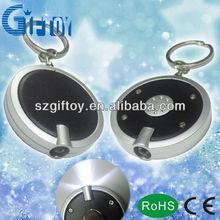 promotional mini round led light keychain print on customized logo