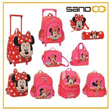 último diseño de moda de juego de bolsos para niñas escolares, venta al por mayor de bolsos de minnie mouse para niños