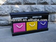 outdoor /indoor antique 3 drawer wooden storage bench