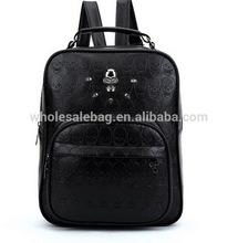 2014 Designer Black Skull Crossbone Embossed Pu Leather Travel Backpack Bag Knapsack Rucksack Shoulders Bag For Teenagers