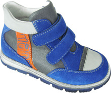 royal blue velcro leather fashion casual kid shoe,child shoe