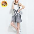 oem 2015 de verano nuevo estilo en blanco y negro rayas plisado de tiras de impresión diseño china alibaba varios