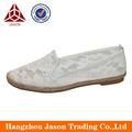 Made in China branco de noiva de renda plano alpercatas sapatos