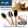 Comfortable user friendly wood handle hair grooming dog hand brush
