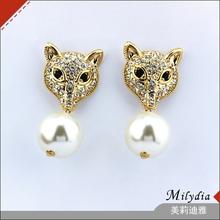 Gold plated pearl pendant animal fox racing stud earring