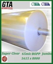 Crystal clear opp bopp packing tape 65mic jumbo for packaging box