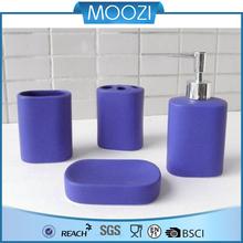 reactive glazed ceramic bathroom set, purple bath accessories with rubber coating