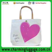 promotional canvas leather handle tote bag