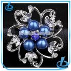 Clear rhinestone flower swirl bulk pearl brooch