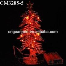 Christmas decorative LED lighted glass pine tree