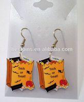 trick or treat halloween earrings charms,custom bag candy metal jewelry danglers