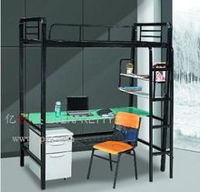 Factory Direct Sale Metal Dorm Bed, Metal Bunk Bed with Futon, Big Size Metal Adult Metal Bunk Bed