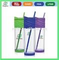Nuevo diseño 16 oz plástico volumétrico frasco con paja