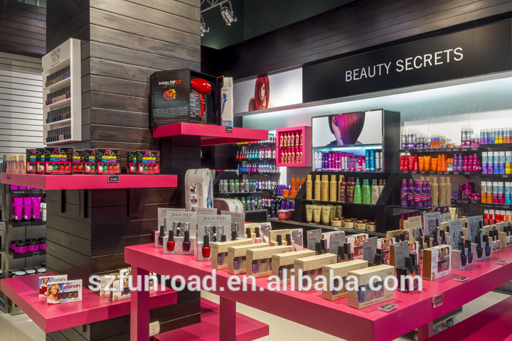 Morden cosmetics shop decoration cosmetic shop furniture for A t design decoration co ltd