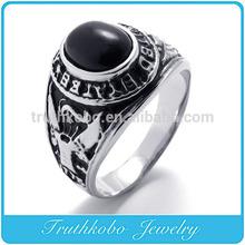 TKB-R0074 New Stainless Steel 316L Man ring auspicious grain black agate rings
