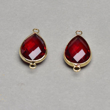 Wholesale Faceted Dark Red Drop Glass Bezel Link Brass Connector Jewelry Making Supplies