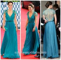 W164 Charming short sleeve see through lace back chiffon evening dress turquoise Kate Middleton celebrity dress