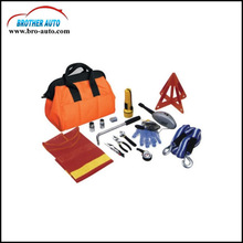 Roadside 15pcs multifunctional car Emergency tool Kit with air compressor tow rope car first aid kit