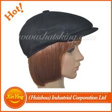 New black custom winter leather mens 8 panel newsboy cap