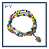 Multi strand small beads bracelet with skull pendant