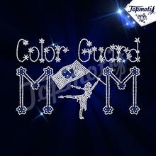 wholesale korean hotfix rhinestones color guard mom strass hotfix rhinestone motif for sport dance shirt
