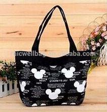 black cartoon Canvas casual Handbag Shoulder Tote Purse shop Bag