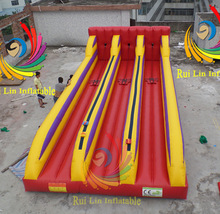 Fun game inflatable sport Plato pvc 3 Lane Bungee Run