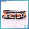 En cuir orange& lettre alliage fermoir& bracelet magnétique d'hématite