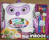 Inkoos Blingoo Medium Plush owl with Gems, Glitter Glue Pens & Markers - White & Purple washable animal toy