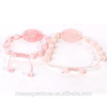 Wholesale rose quartz concentric necklace and bracelet gifts