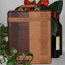 2014 special customized wine gift box, wine bottle package, wine bag wholesale pu leather Handmade Vintage wine carrier