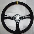 universale 350mm Corsica stile gara auto auto piatto fondo volante in pelle scamosciata ruota nero