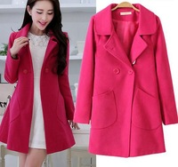 NEW ARRIVAL CHEAP EUROPEAN SLIM LADY WARM COATS,LADY WOOL COATS, FIVE COLORS