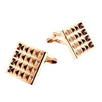 classical square pyramid metal cufflinks
