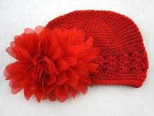 2014 fancy winter handmade Baby Girl Red Crochet Flower Hats