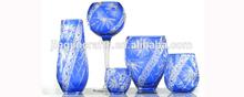 big flowers arrangemetn blue glass vase for Tea roses,sunflowers,peonies and Mixed arrangements