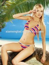 Pink stripe women beach wear tie bikini factory